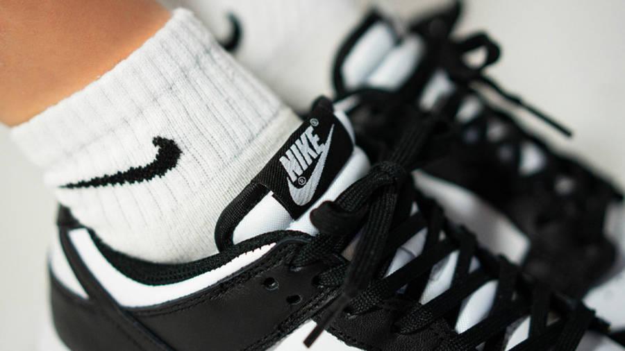 Nike Dunk Low Retro White Black On Foot Closeup