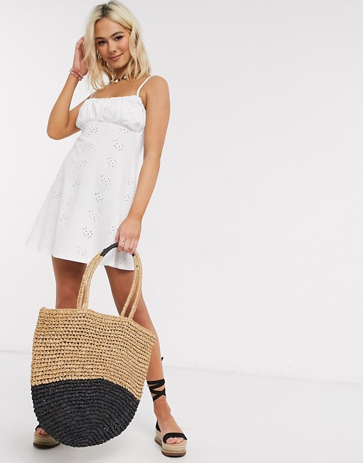 ASOS DESIGN broderie ruched front mini strappy dress in white
