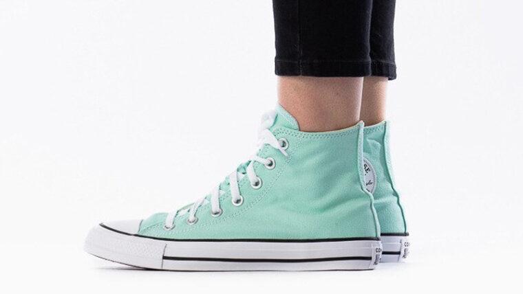 Converse Chuck Taylor All Star Hi Seasonal Colour Ocean Mint On Foot thumbnail image