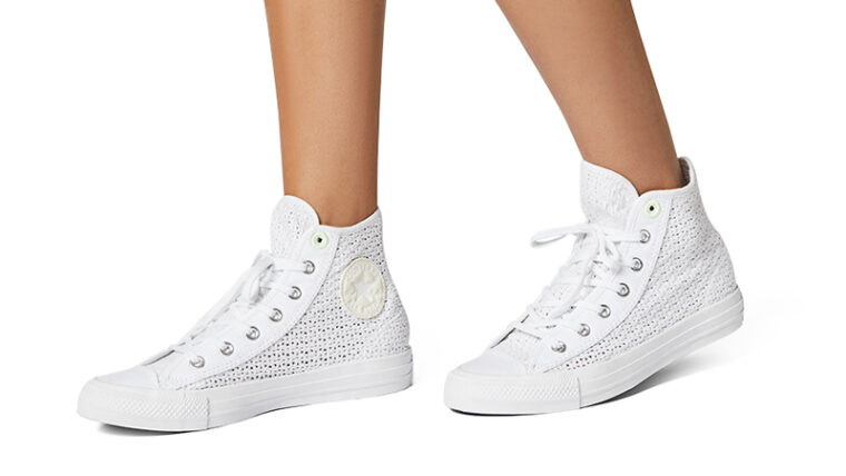 Converse Chuck Taylor All Star High Top Summer Getaway White Barely Volt On Foot thumbnail image