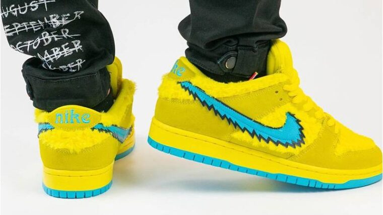 Grateful Dead x Nike SB Dunk Low Opti Yellow On Foot Back thumbnail image