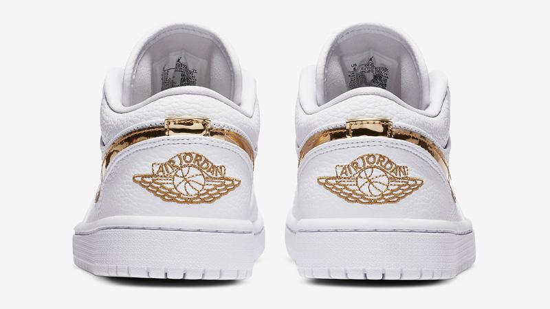 Jordan 1 Low White Metallic Gold Back