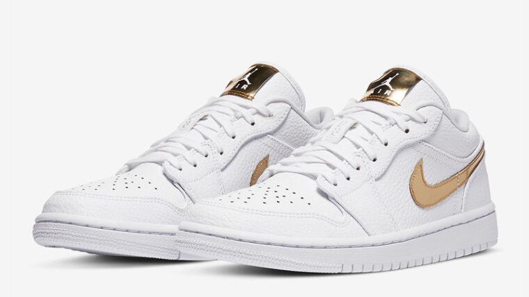 Jordan 1 Low White Metallic Gold Front thumbnail image