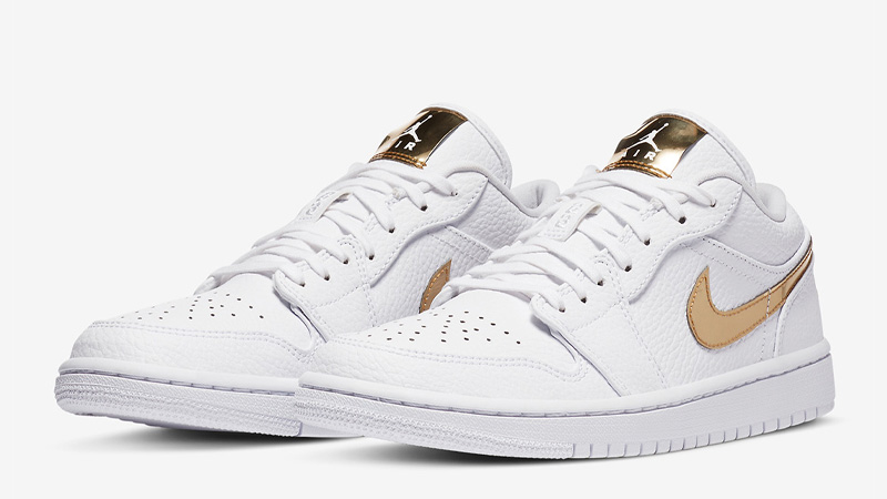 Jordan 1 Low White Metallic Gold Front