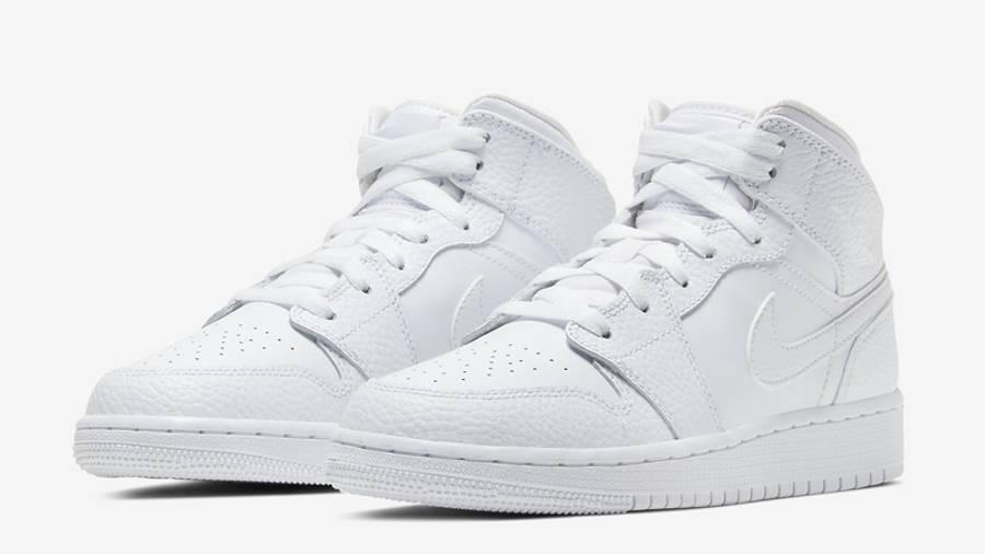 Jordan 1 Mid GS Triple White | Where To Buy | 554725-130 | The ...