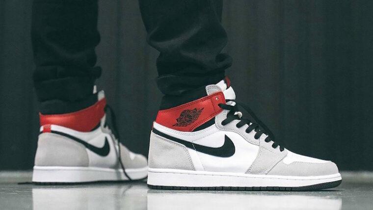 Jordan 1 Retro High Light Smoke Grey On Feet thumbnail image