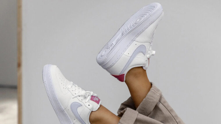Nike Air Force 1 07 White Desert Berry On Foot In Air thumbnail image