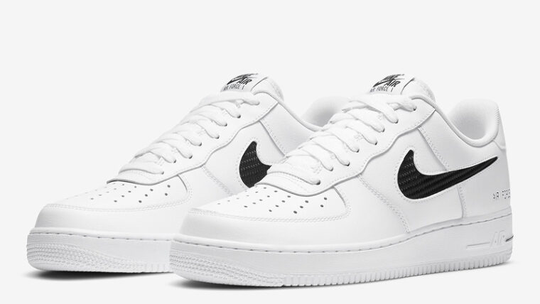 Nike Air Force 1 Low Cut Out Swoosh White Front thumbnail image