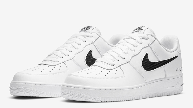 Nike Air Force 1 Low Cut Out Swoosh White Front