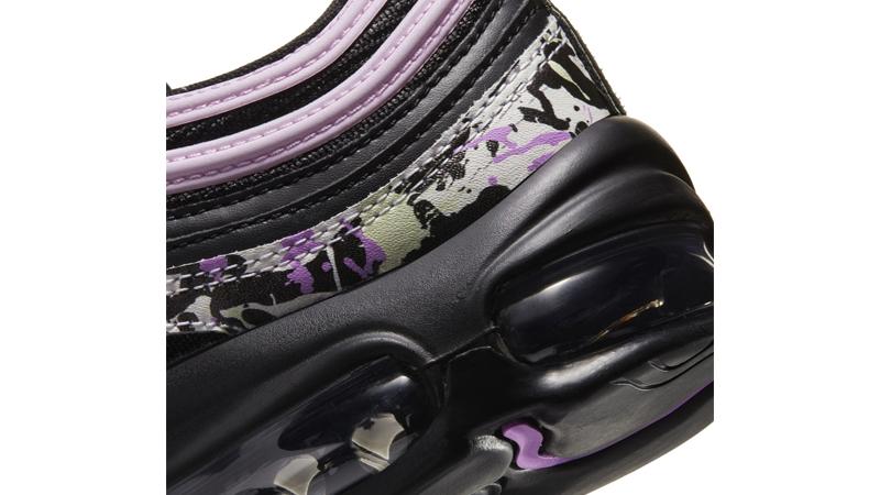 Nike Air Max 97 Paint Splatter Black Pink Top Closeup