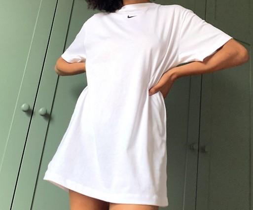 Nike mini swoosh oversized t-shirt dress in white