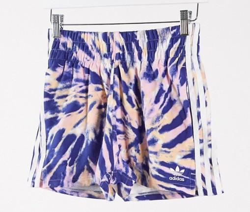 adidas Originals 3 stripe shorts in blue tie dye