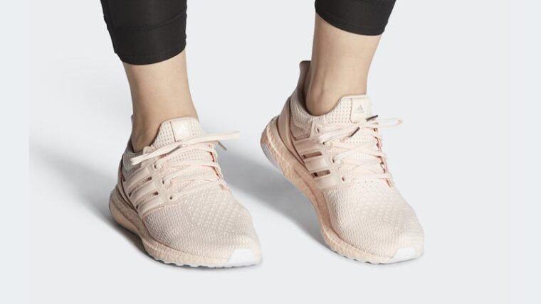 adidas Ultra Boost Pink Tint On Foot thumbnail image