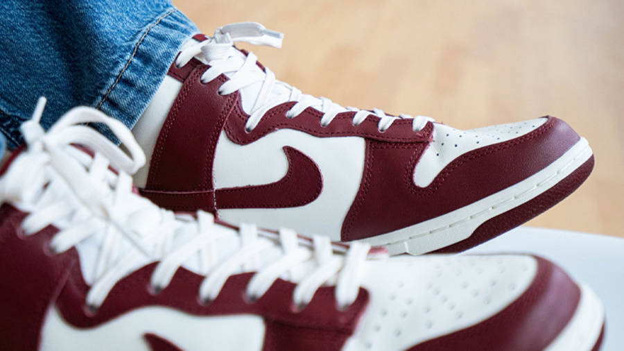 Nike Dunk High Team Red On Foot Closeup