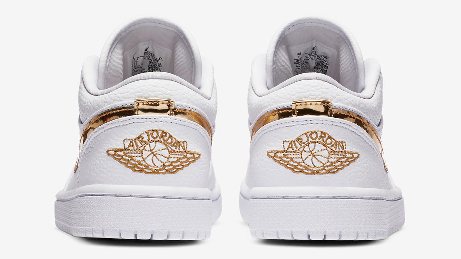 white gold air jordan 1 low heel shot