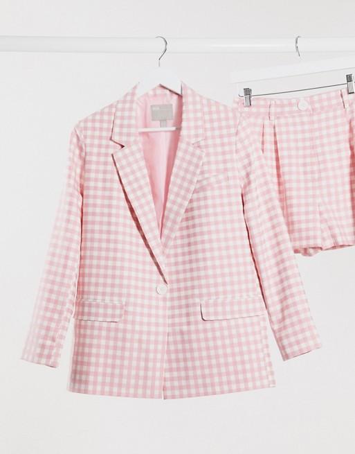 ASOS DESIGN 3 piece suit blazer in pink gingham