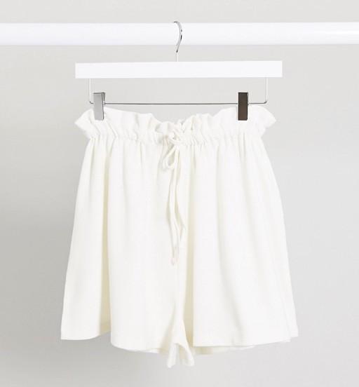 Asos design tie waist shorts cream