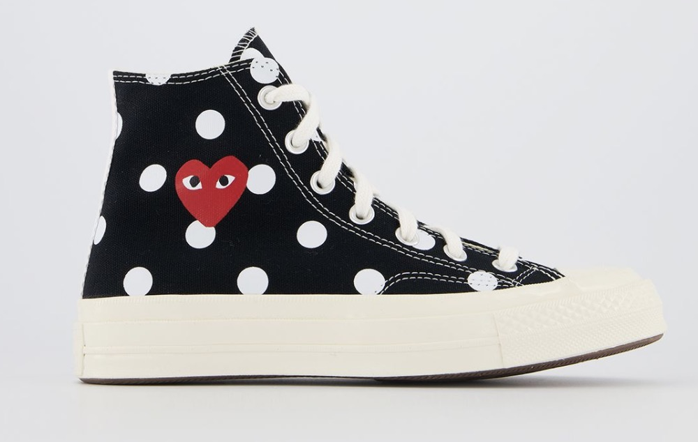 CDG x Converse Play High Top Black Polka Dot