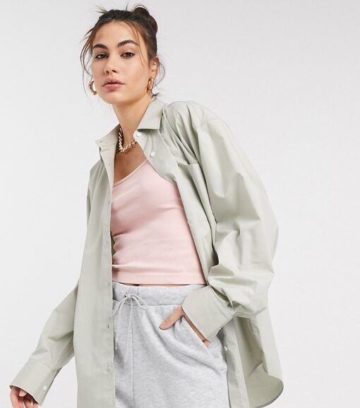 COLLUSION oversized shirt in sage green
