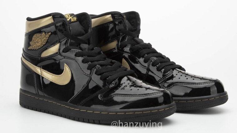 Jordan 1 High OG Patent Black Gold Front thumbnail image