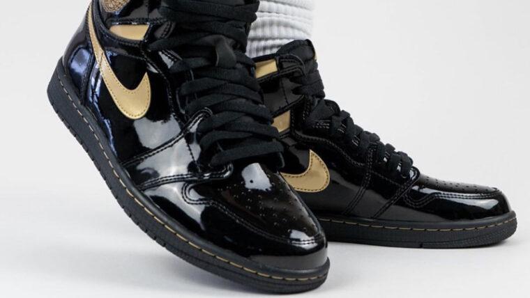 Jordan 1 High OG Patent Black Gold On Foot Front thumbnail image