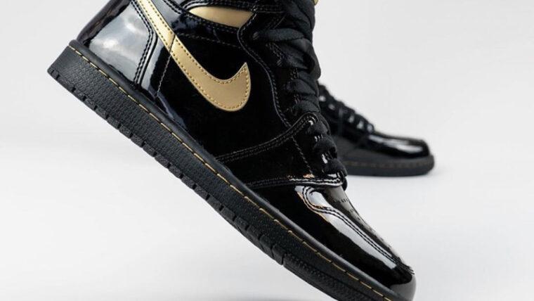 Jordan 1 High OG Patent Black Gold On Foot Side thumbnail image
