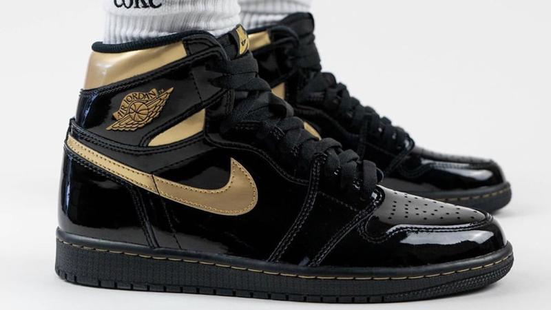 Jordan 1 High OG Patent Black Gold On Foot