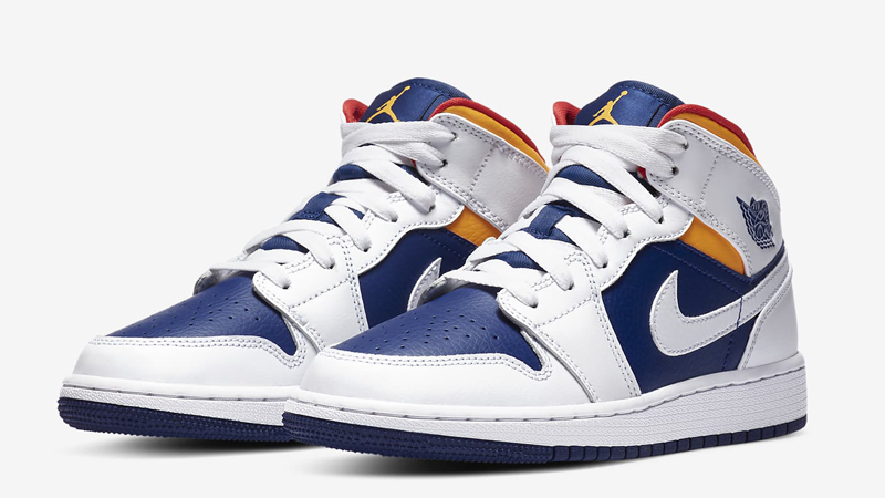 Jordan 1 Mid GS Royal Blue Laser Orange Front