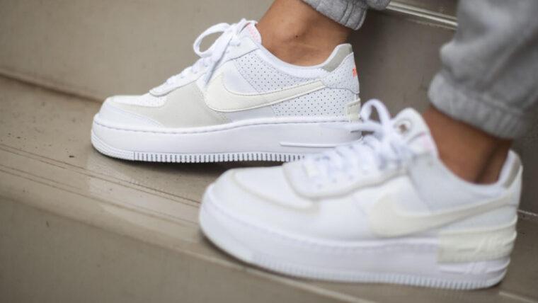 Nike Air Force 1 Shadow White Atomic Pink On Foot thumbnail image