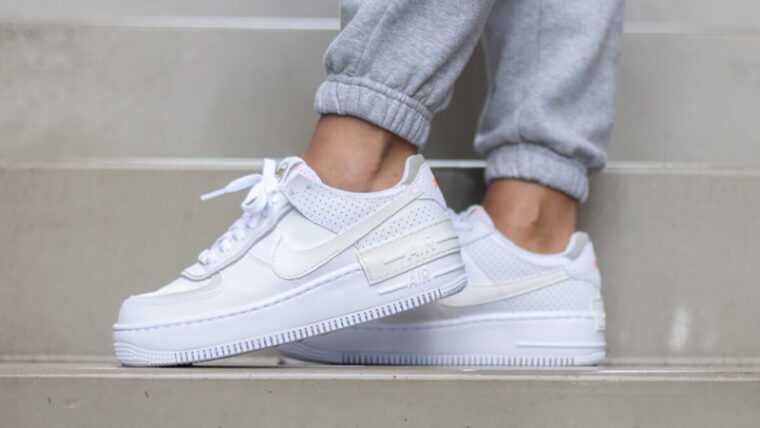 Nike Air Force 1 Shadow White Atomic Pink On Foot Side thumbnail image