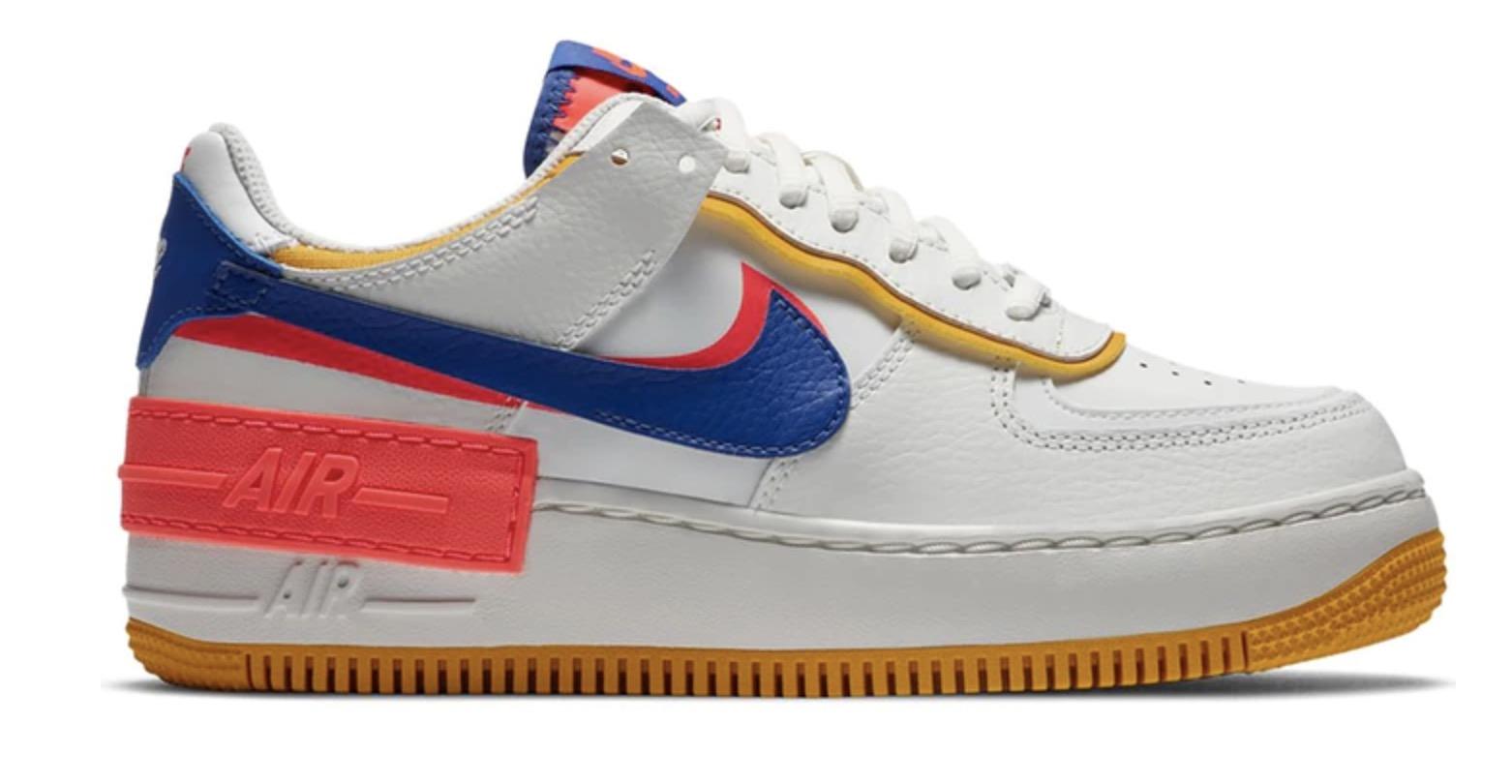 Nike Air Force 1 Shadow White Flash Crimson Blue