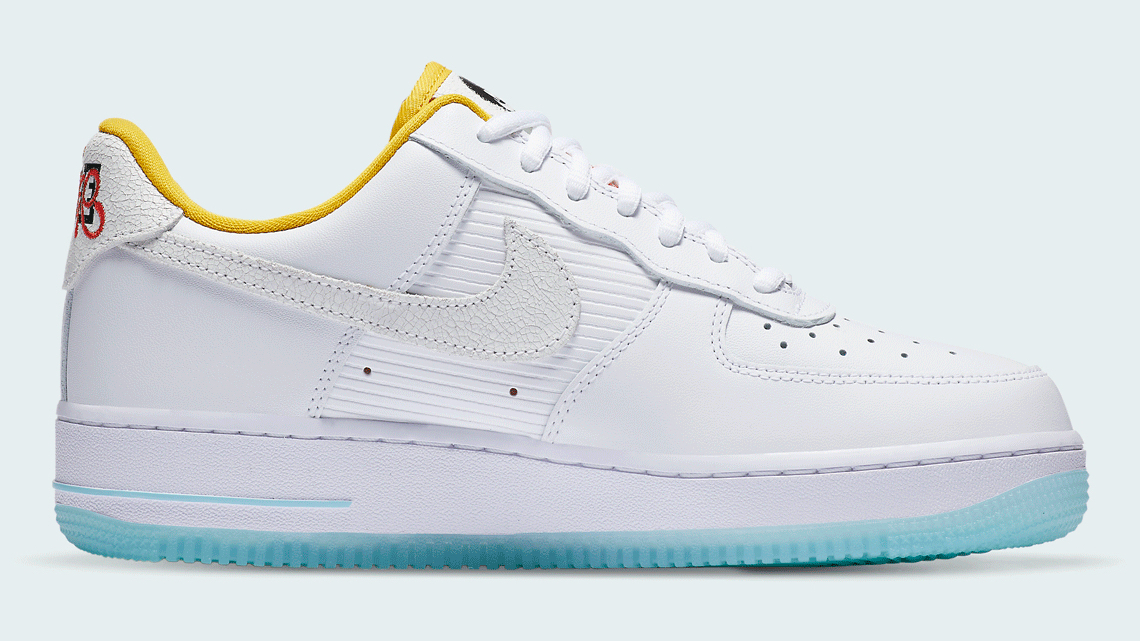 Nike Air Force 1 White Yellow Cracked Swoosh
