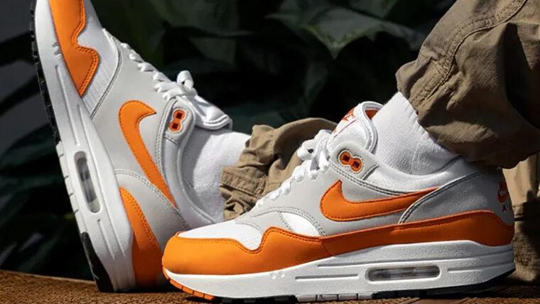 Nike Air Max 1 Anniversary Magma Orange On Foot thumbnail image