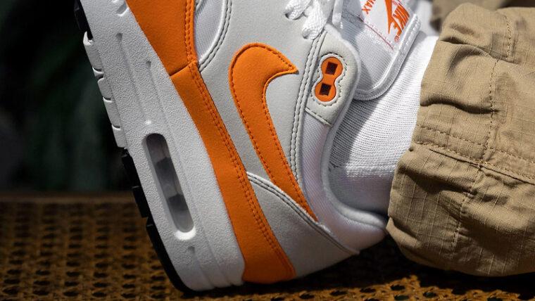 Nike Air Max 1 Anniversary Magma Orange On Foot Closeup thumbnail image