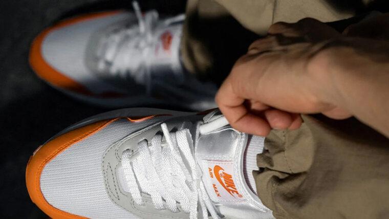 Nike Air Max 1 Anniversary Magma Orange On Foot Top thumbnail image
