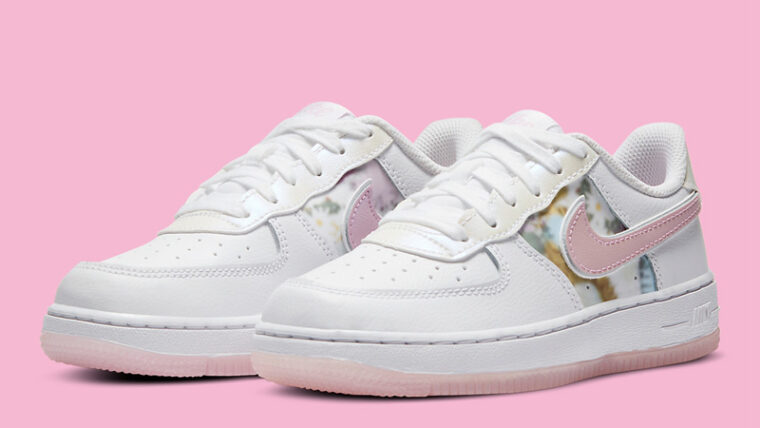 Nike Force 1 LV8 White Pink Floral Front thumbnail image
