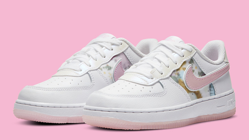 Nike Force 1 LV8 White Pink Floral Front