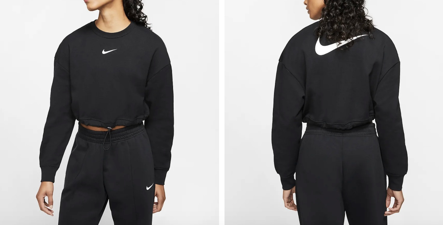 Nike French Terry Crop Crew Black