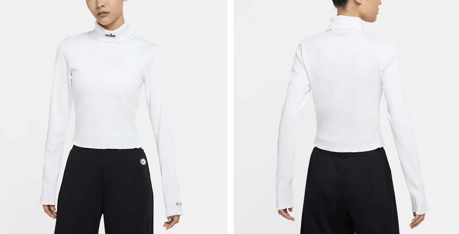 Nike Ribbed Long Sleeve Top White