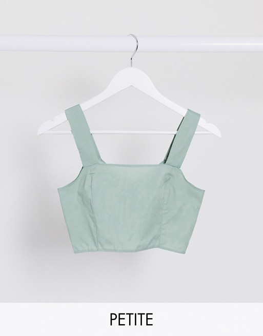 PrettyLittleThing Petite co-ord crop top with button detail in sage green