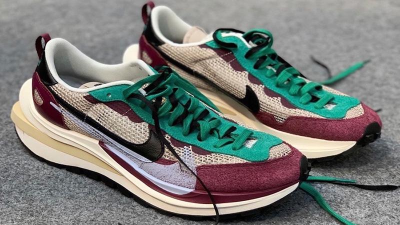 Sacai x Nike VaporWaffle Red Green Side