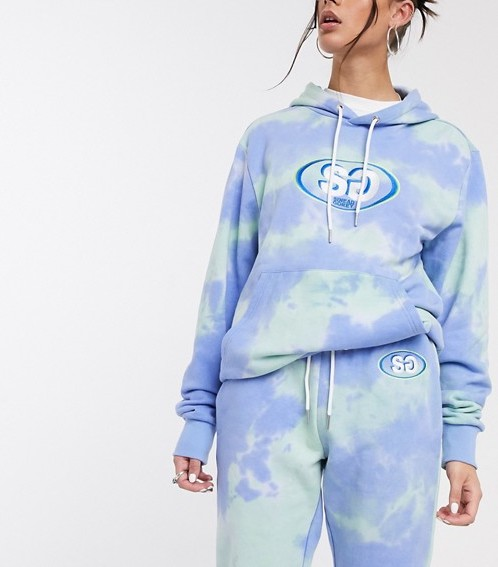 Sinead Gorey oversized joggers with logo in tie dye co-ord