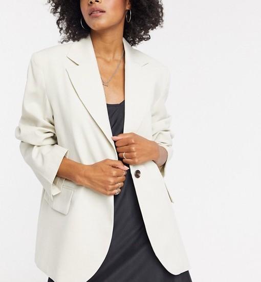 Weekday Linen Oversized Blazer Beige