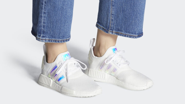 adidas NMD R1 Cloud White Iridescent On Foot thumbnail image