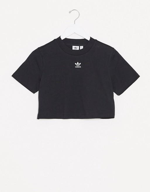 adidas Originals Essentials cropped t-shirt in black
