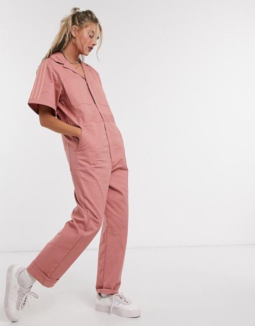adidas Originals New Neutrals logo boilersuit in pink