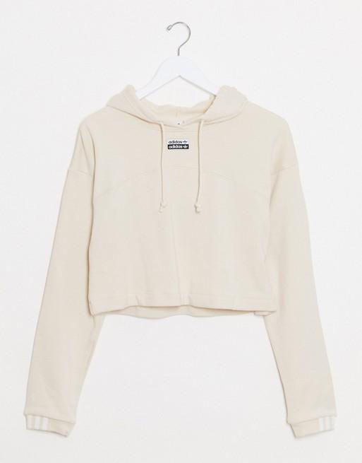adidas Originals RYV cropped hoodie in off white
