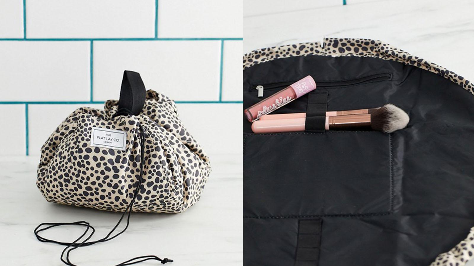 flat lay makeup bag