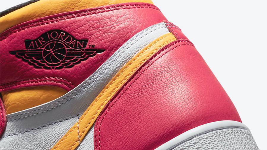 Jordan 1 High OG Light Fusion Red Yellow Closeup