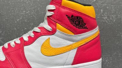Jordan 1 High OG Light Fusion Red Yellow First Look Closeup